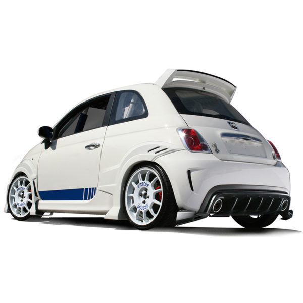 500|SPEEDLAB Abarth 7 Piece Styling Kit Installed White 02