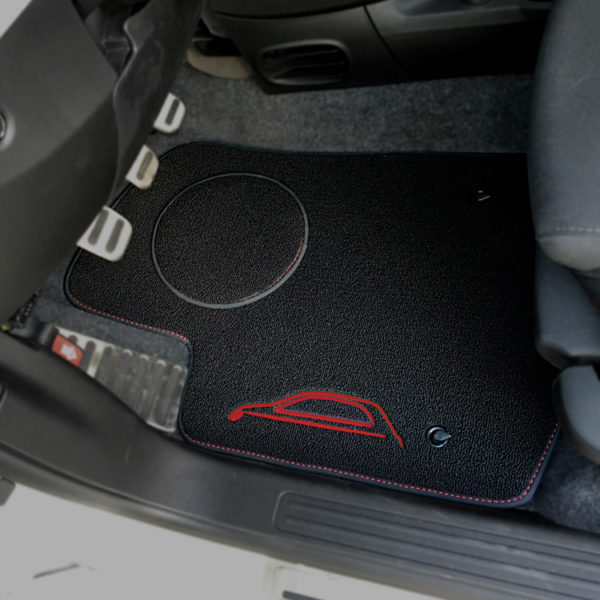 FIAT 500 Floor Mats by 500|SPEEDLAB Black with Red Logo Driver