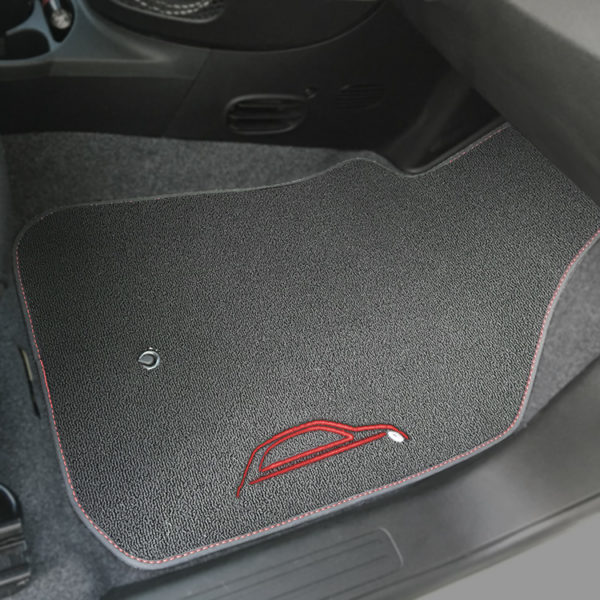 FIAT 500 Floor Mats by 500|SPEEDLAB Grey with Red Logo Passenger