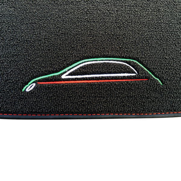FIAT 500 Floor Mats by 500|SPEEDLAB Black with Italia Logo Detail