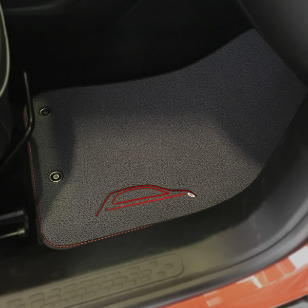 FIAT 500X Floor Mats by 500|SPEEDLAB Grey with Red Logo Passenger