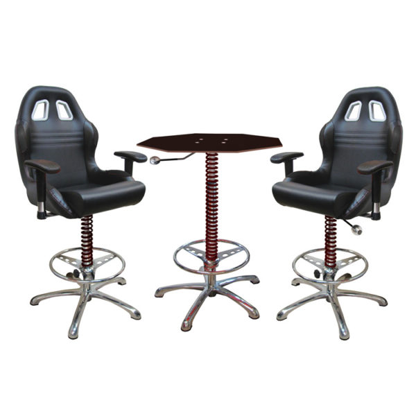 500|SPEEDLAB PitStop Crew Chief Bar Table and Chairs Black