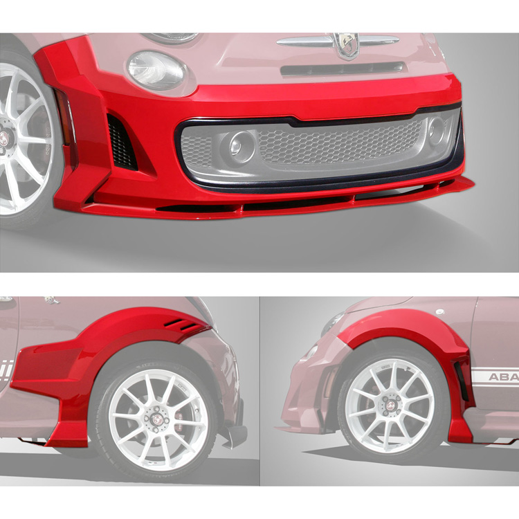 fiat 500 5 piece body kit by 500 speedlab air dam and flares